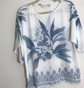 Chico's Sz 1 White Blue Floral Print Blouse Top